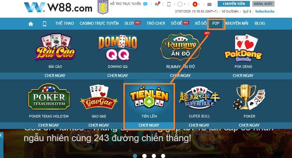 การ์ดเกม Tien Len W88 ออนไลน์แลกของรางวัลทางโทรศัพท์